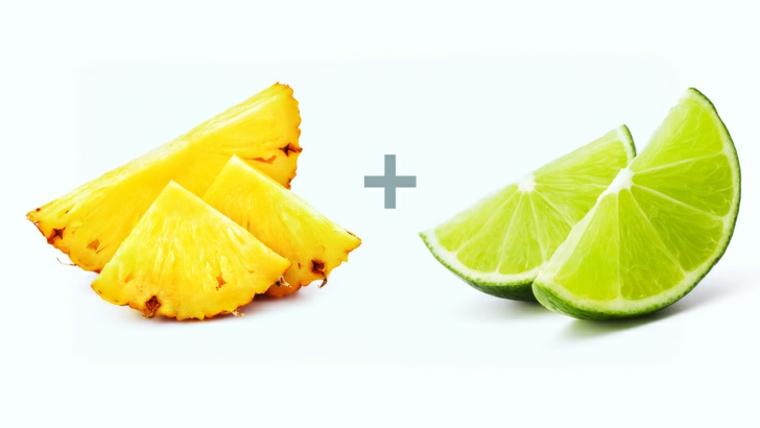 aliments à base dananas et de lime