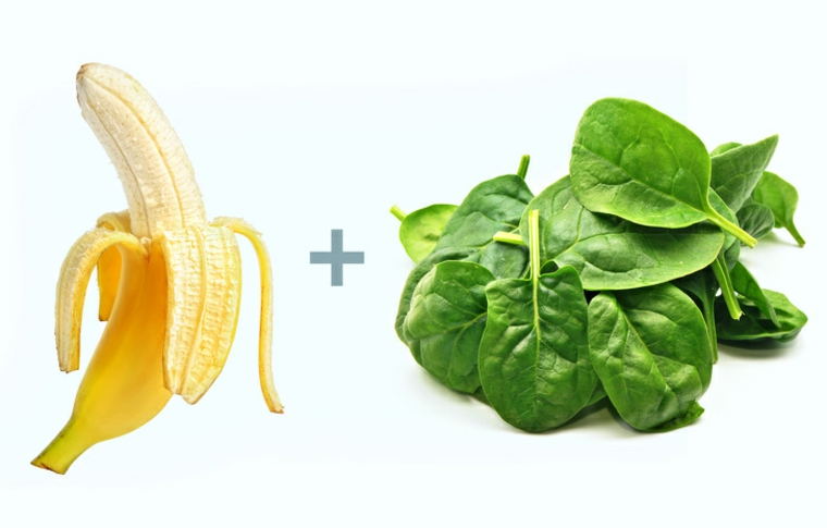 aliments à la banane et aux épinards
