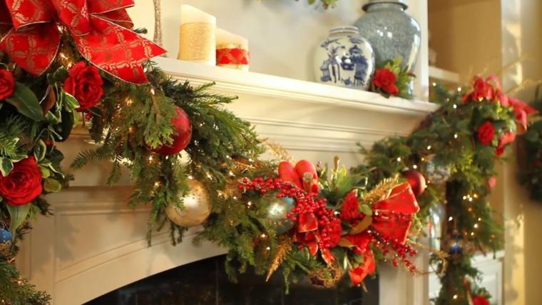Ornements de Noël-décorer-cheminée