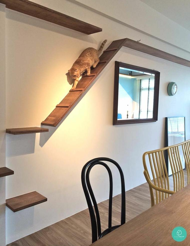 échelle-pour-chats-sur-le-mur