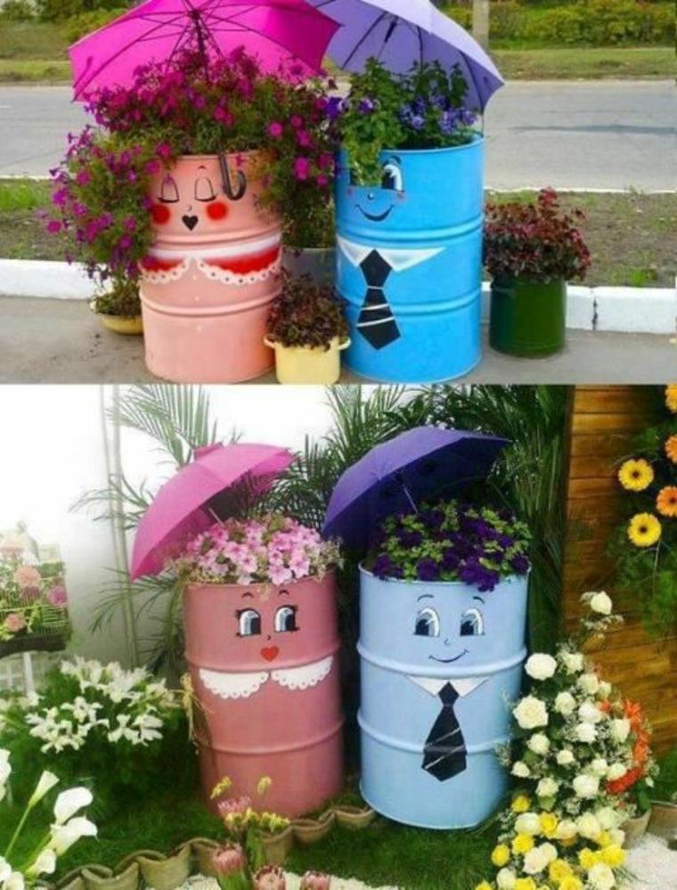 Contenants recyclés convertis en jardinières