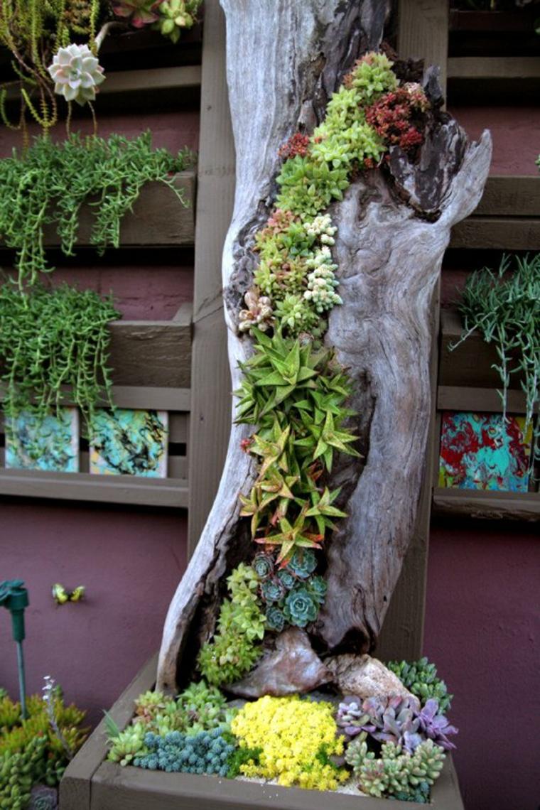Beau jardin vertical dans lécorce dun arbre