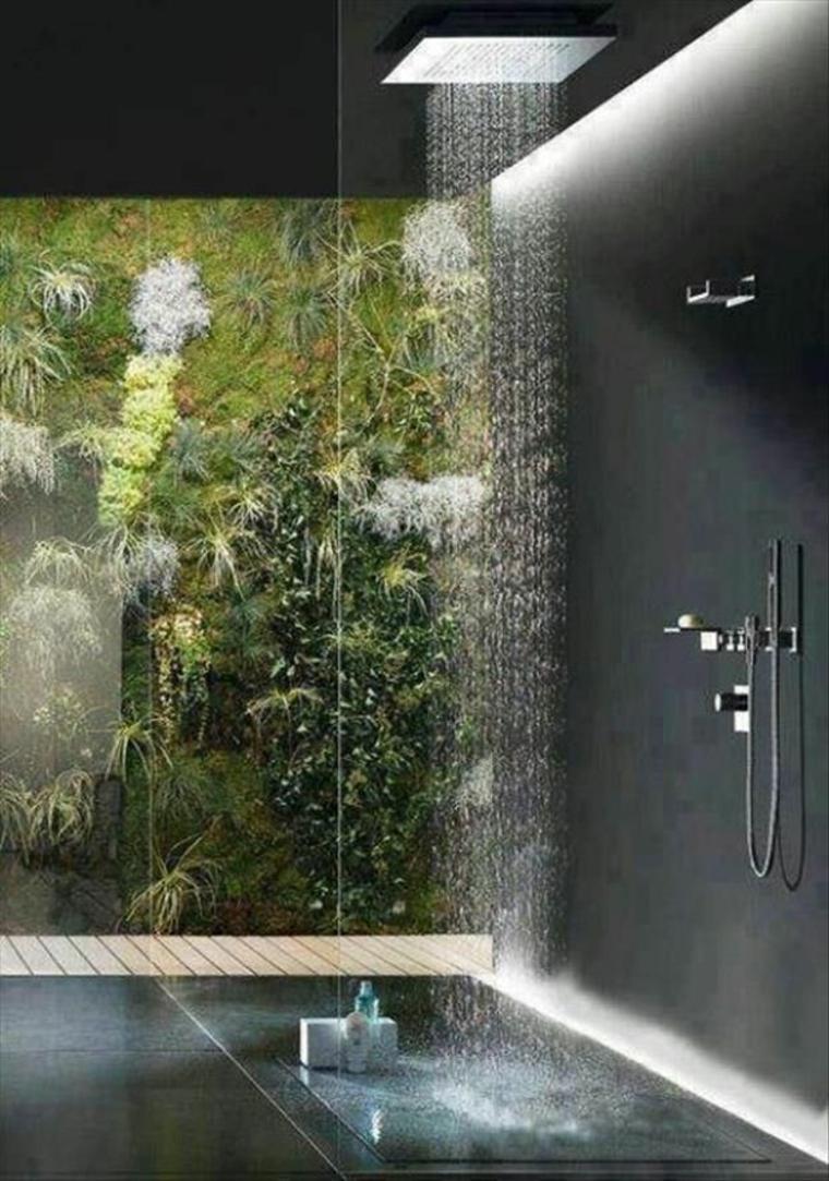 cabine de douche avec jardin vertical