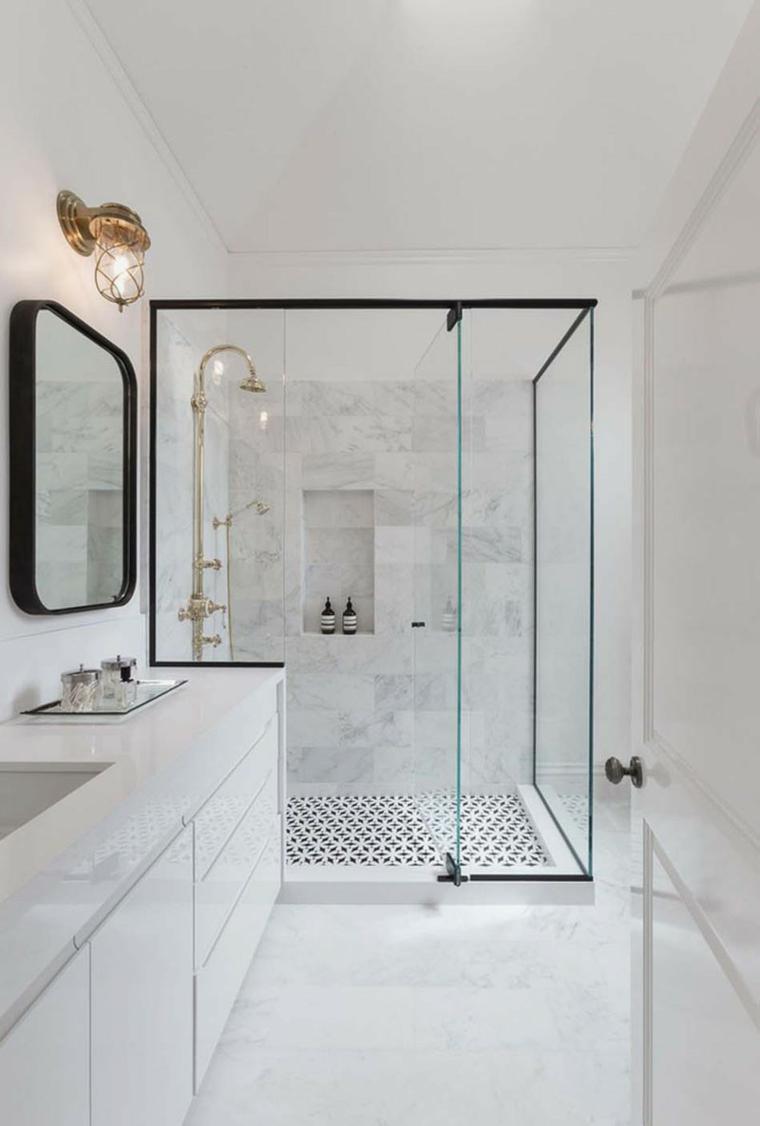 cabine de douche avec porte en verre et cadres noirs