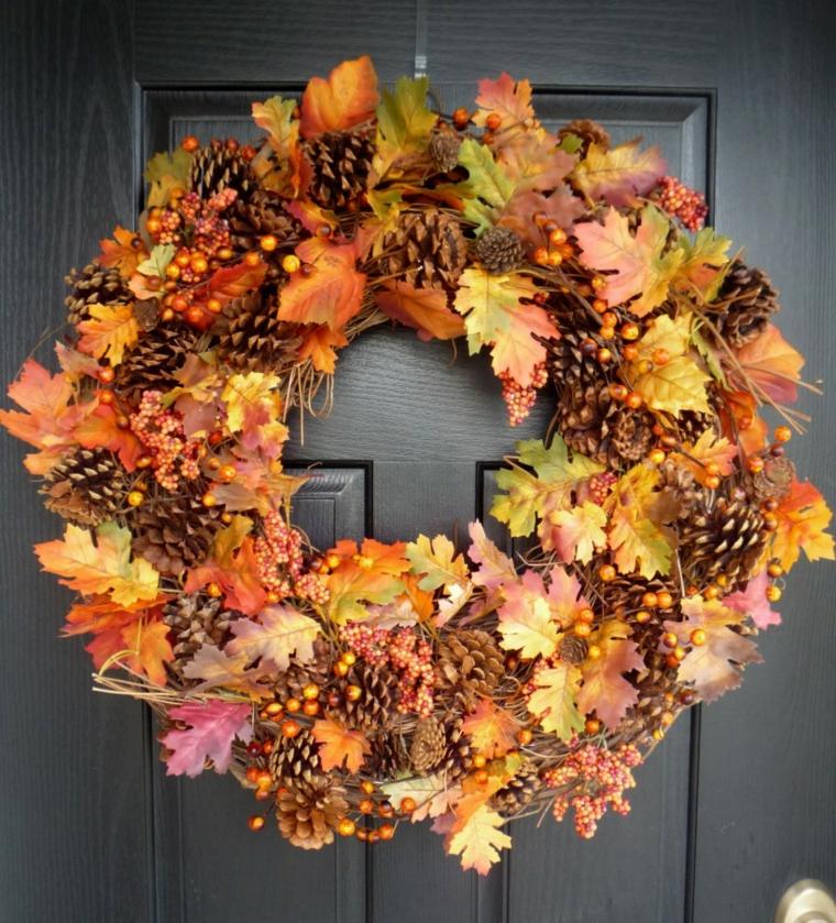 feuilles dautomne pour décorer la porte