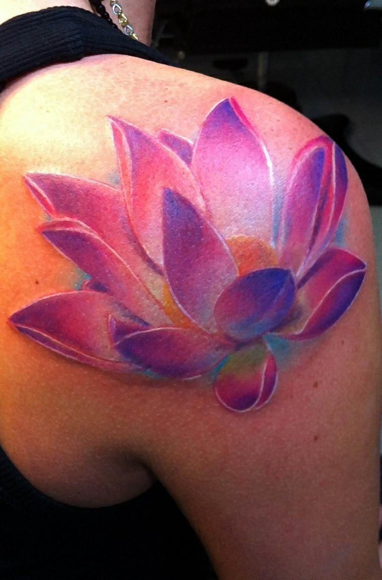 couleur de tatouage de fleur