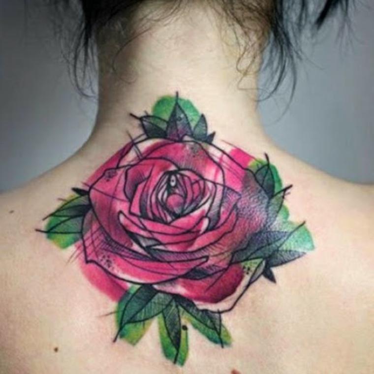 rose au dos