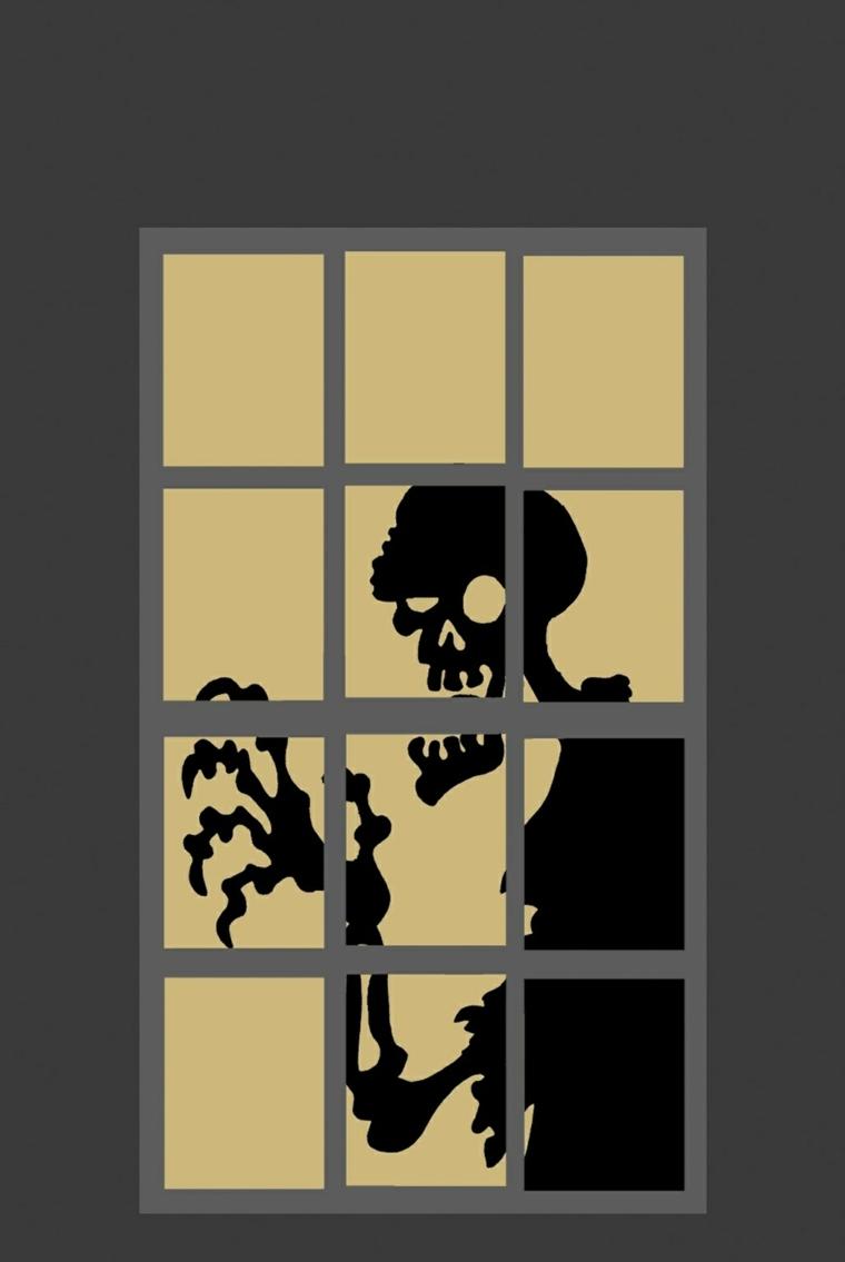 idées pour halloween-window-skeleton