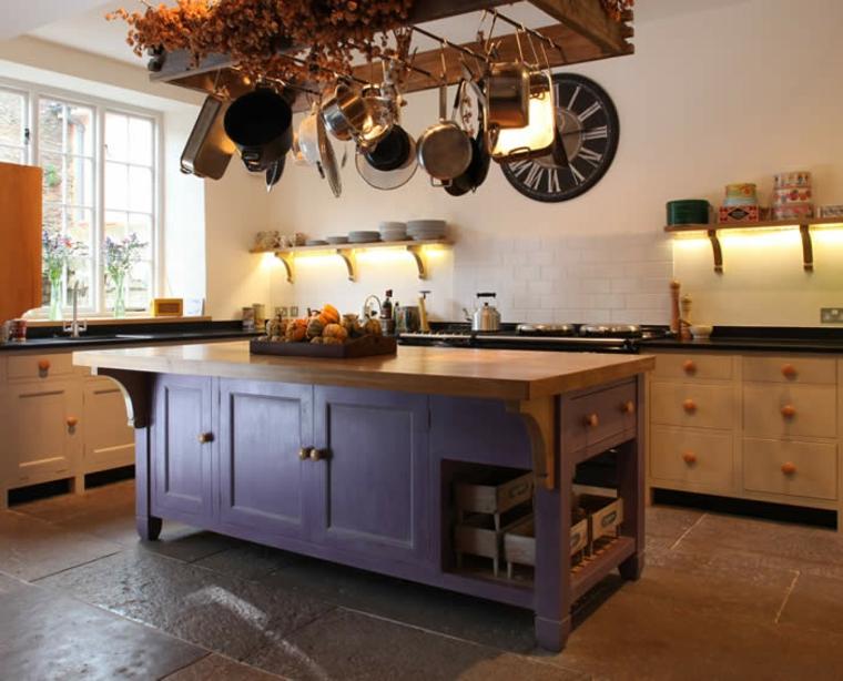 îlot de cuisine violet
