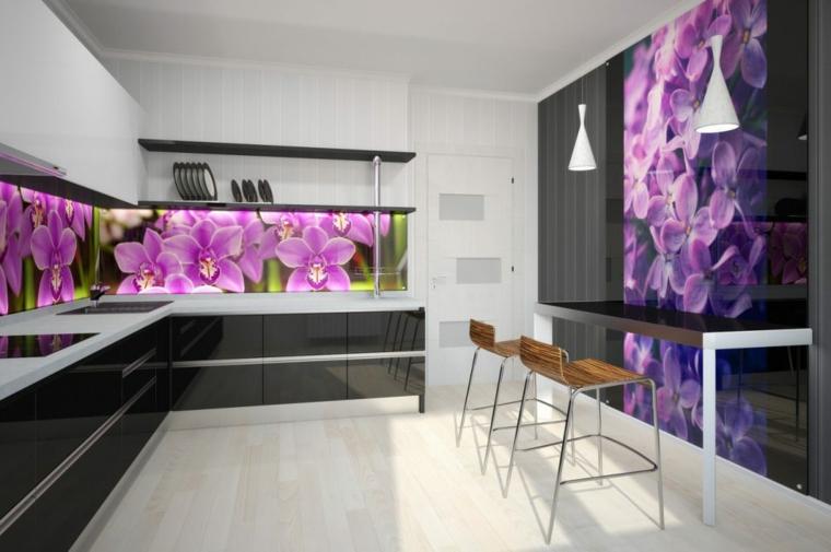 cuisine moderne dessins-tableaux de bord-fleurs