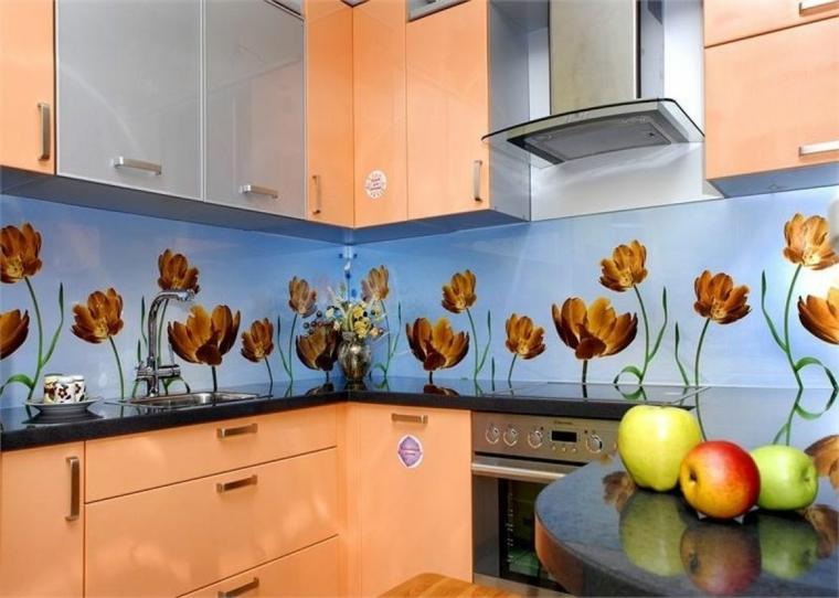 intérieurs de cuisines-backsplashes-modern-flowers