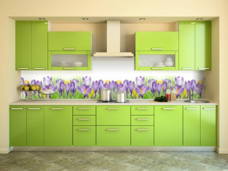 intérieurs de cuisines-backsplashes-fleurs