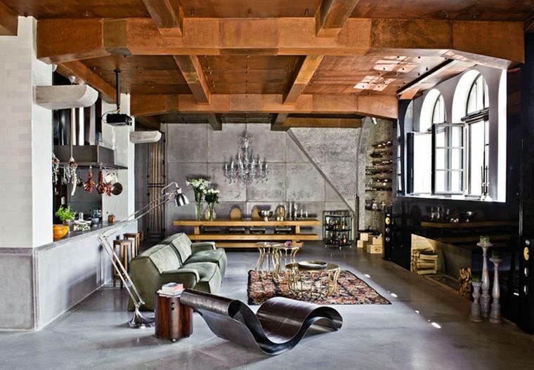 Éclectisme discret dans les formes de meubles et les plafonds du salon