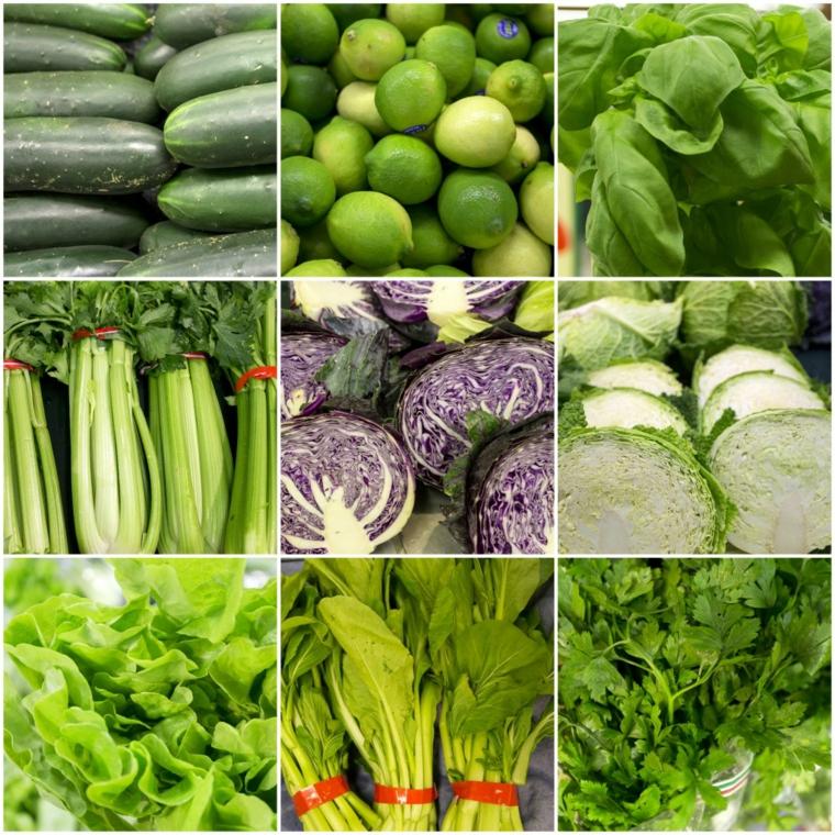 fruits et légumes de couleur verte