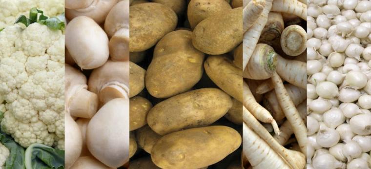 fruits et légumes blancs et beiges