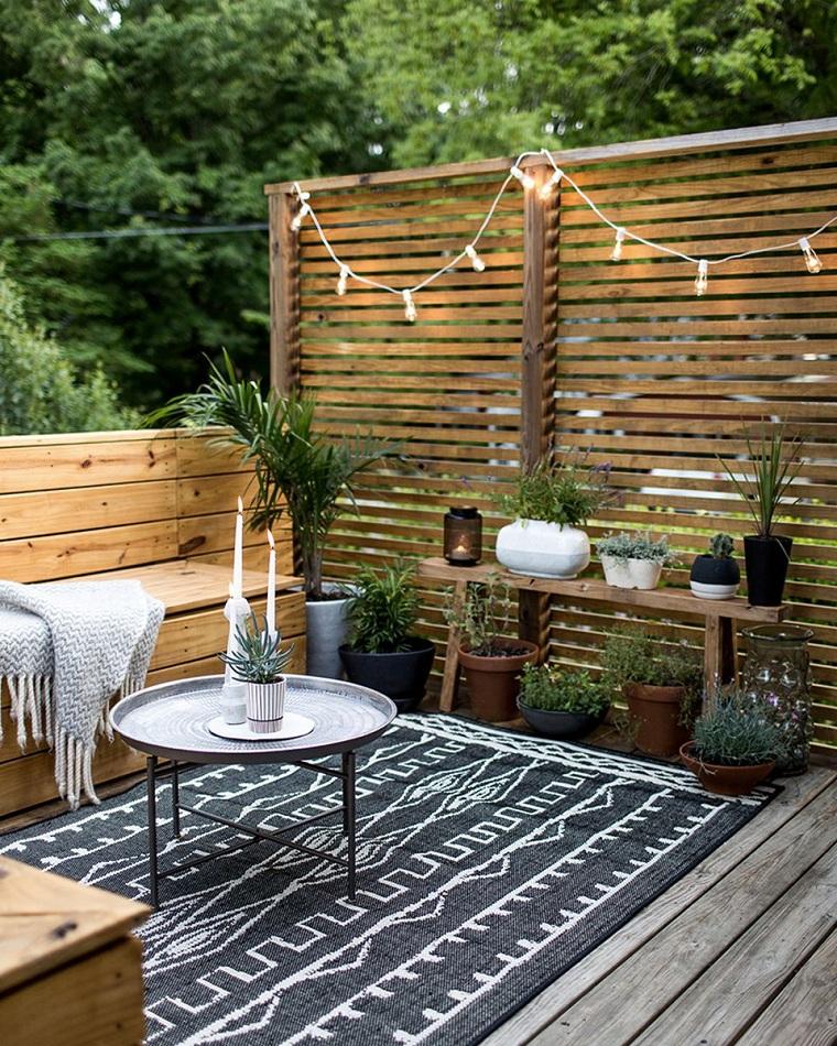 hiver balcon-décorer-meubles-luminaires-idées
