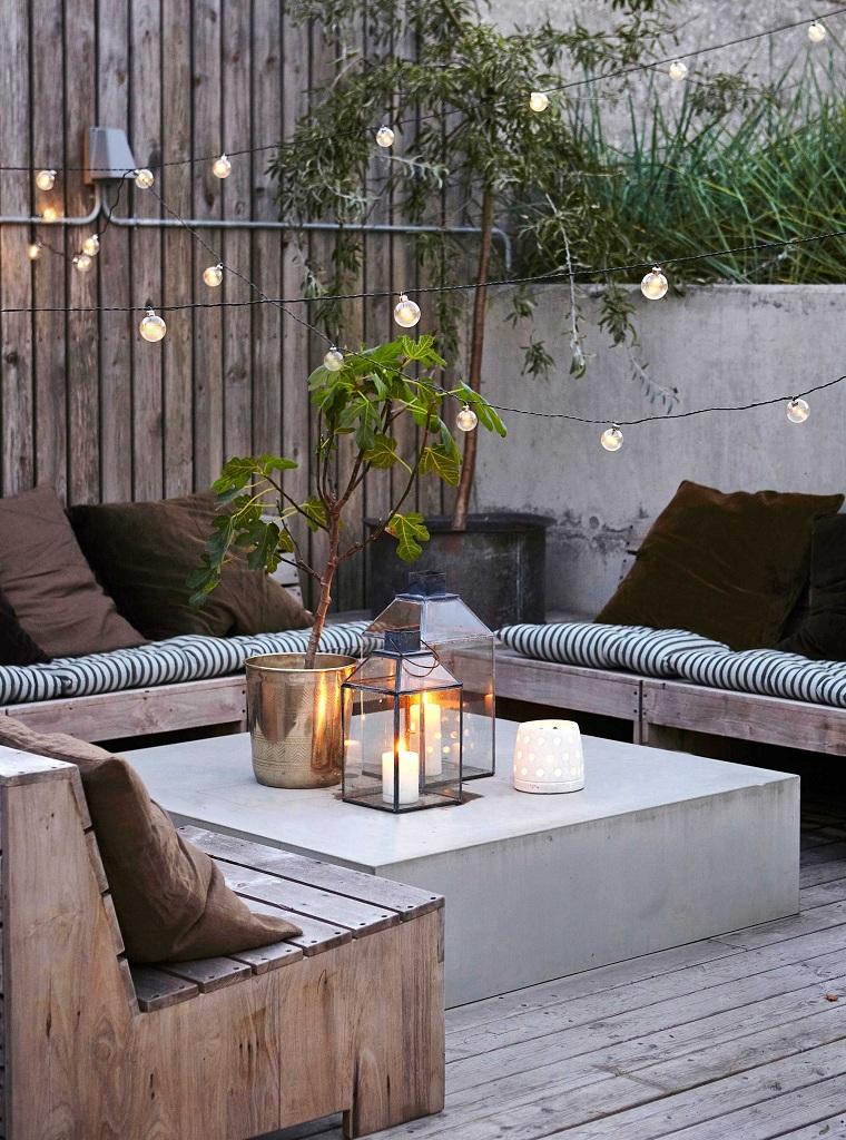 hiver-balcon-décorer-meubles-bois-style moderne