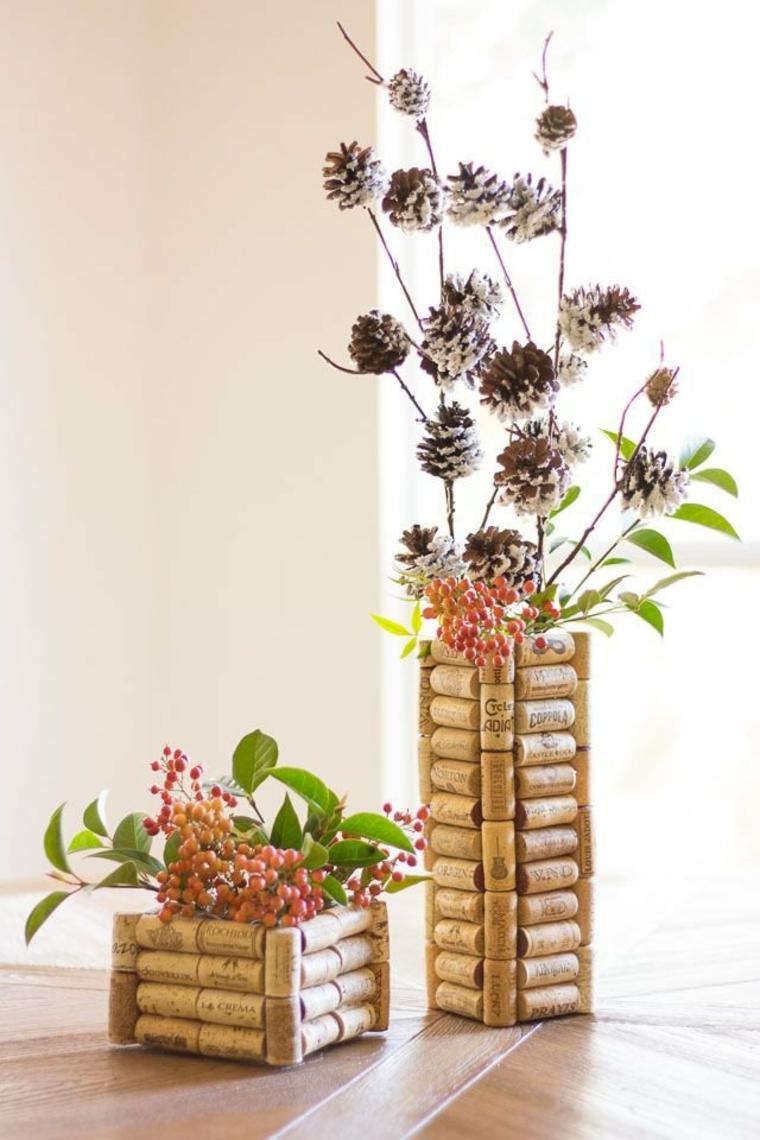 Centres de table décorés avec des bouchons de liège