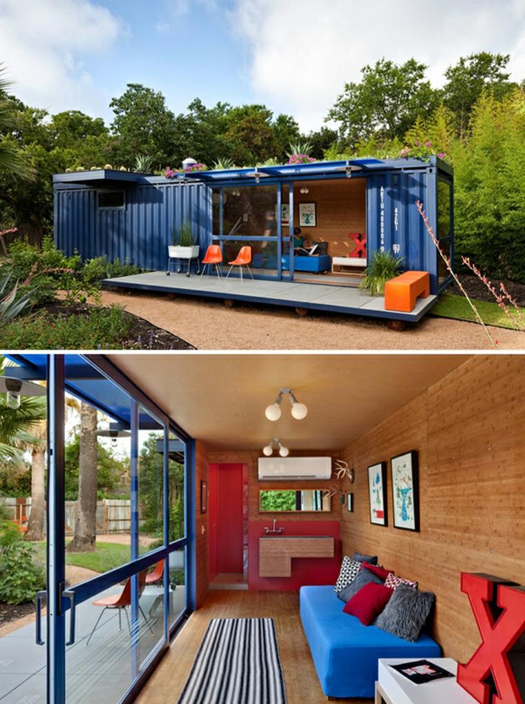 architecture avec des conteneurs recyclés