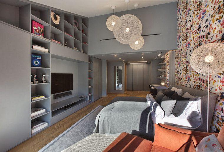 chambre à coucher-beau-mur-étagères-idées