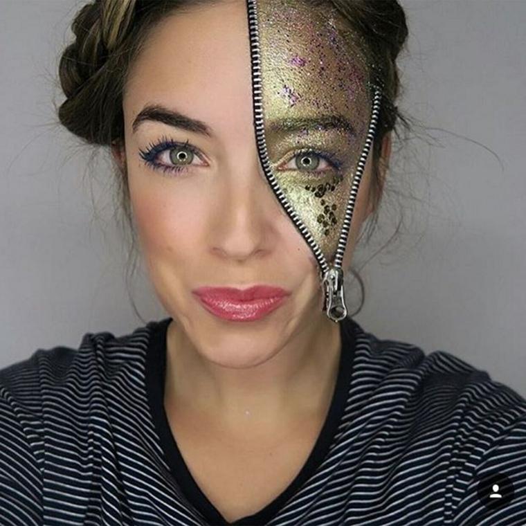 maquillage-de-jour-de-mort-briller-couleur-or