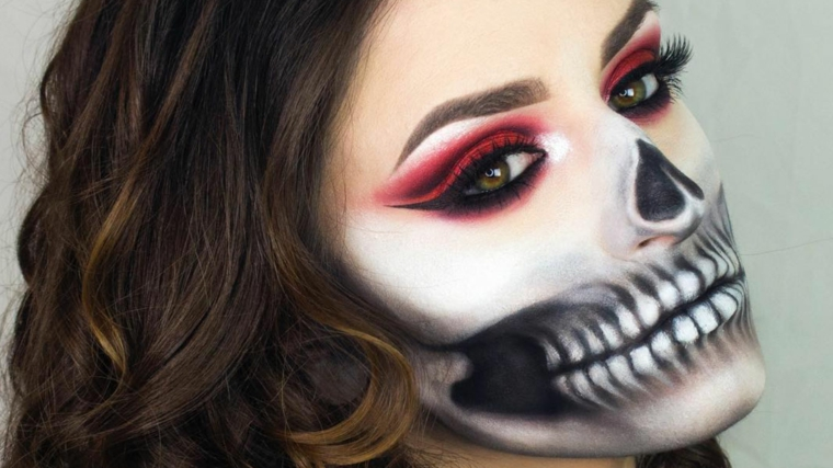 maquillage-de-mort-crâne-blanc-noir