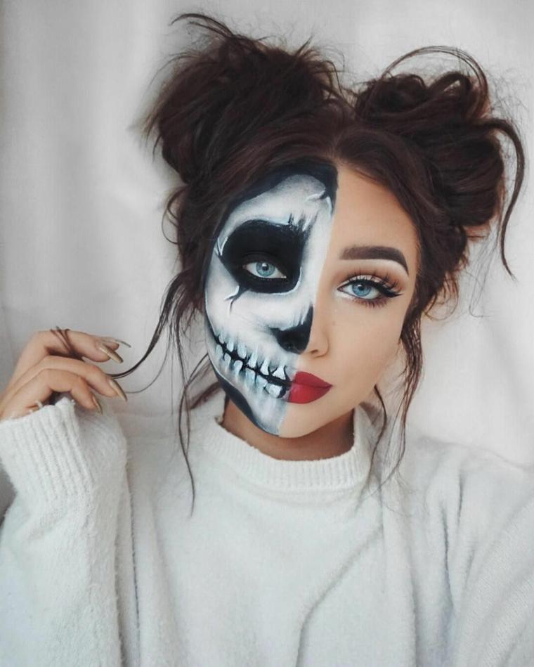 maquillage de jour-de-mort-face-divisé-deux
