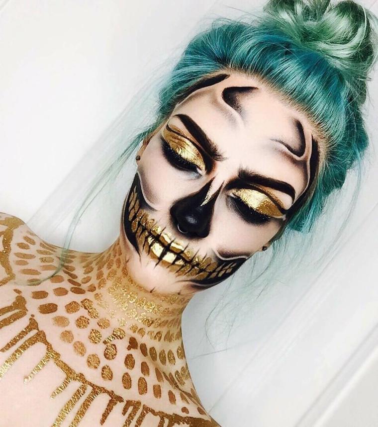 maquillage du jour des éléments-morts-or-crâne