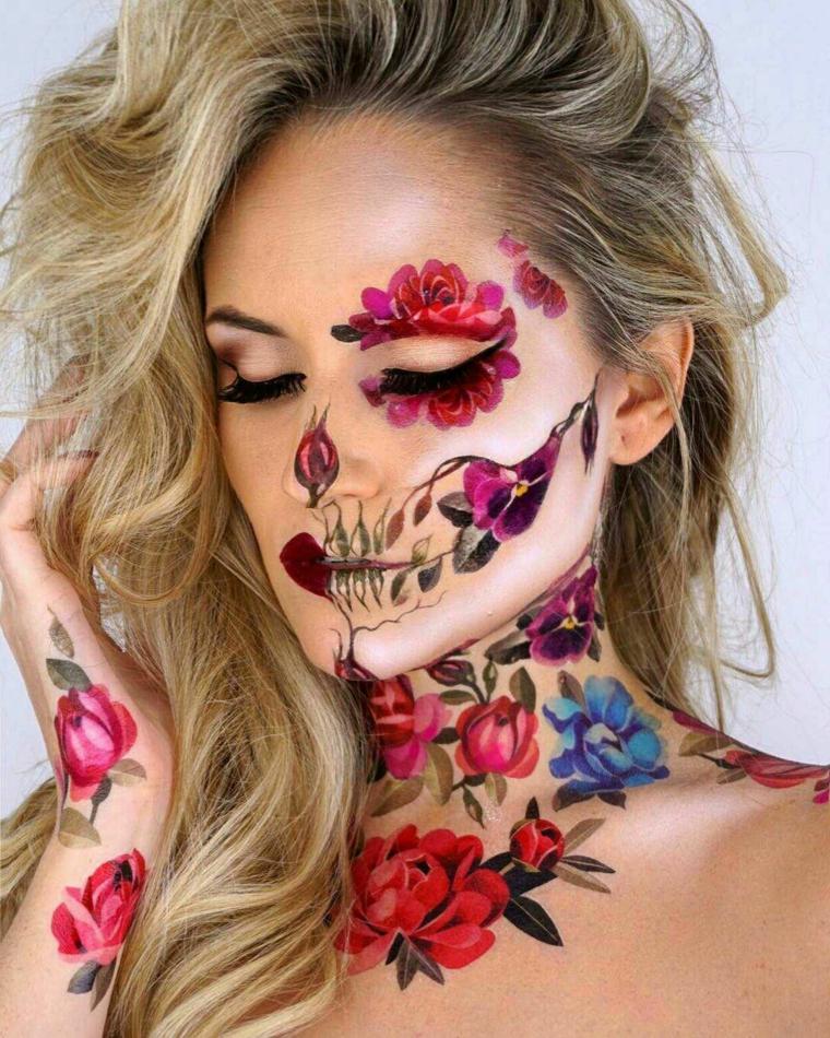 Jour de la mort maquillage-fleurs-couleurs-style