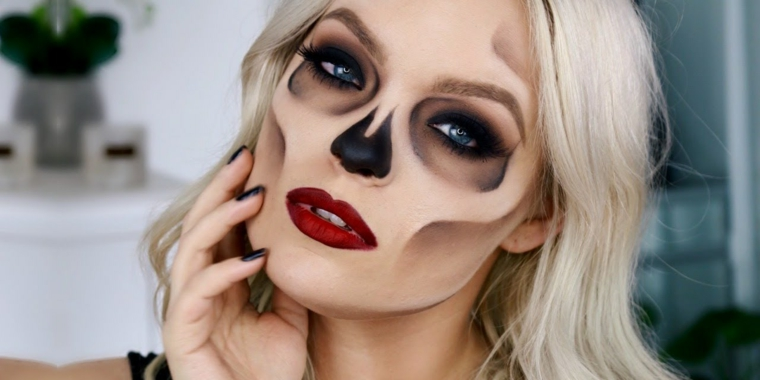 maquillage-halloween-crâne-idées-style-attractif
