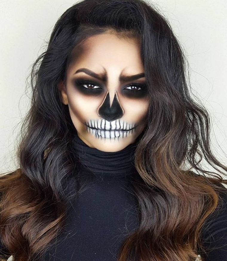 maquillage-halloween-crâne-style-fille