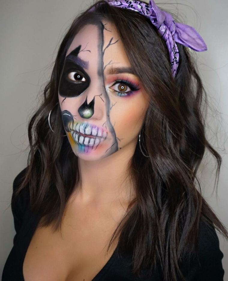 maquillage-halloween-interprétation-crâne-couleurs