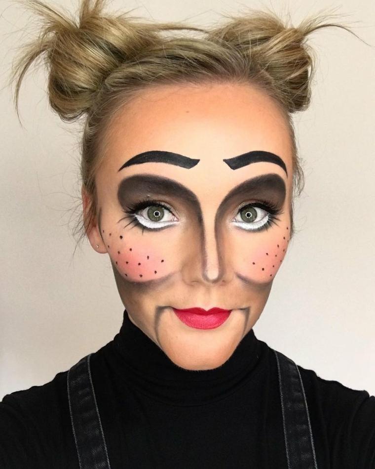maquillage-halloween-poupée-cheveux-recueillis