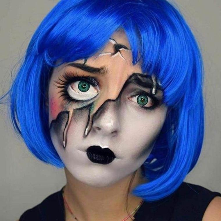 maquillage-halloween-poupée-idées-perruque-bleu