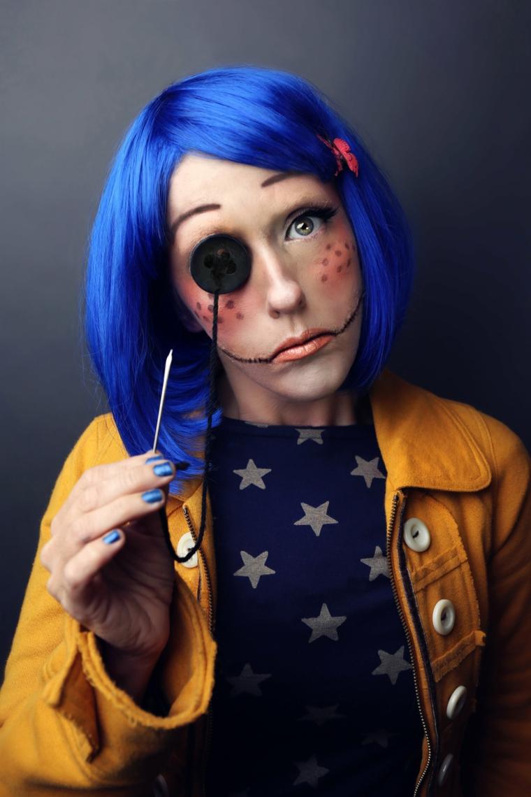 maquillage-halloween-perruque-bleu-idées