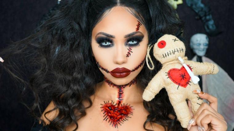 maquillage-halloween-poupée-vaudou-idées-original