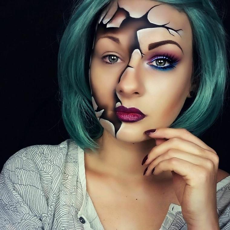 maquillage-halloween-visage-brisé-idées