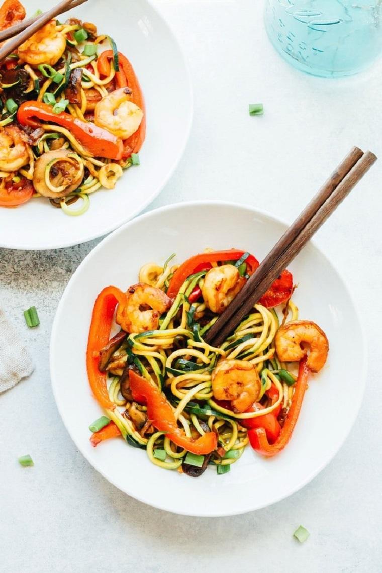 nouilles-courgettes-recettes-crevettes-sarten