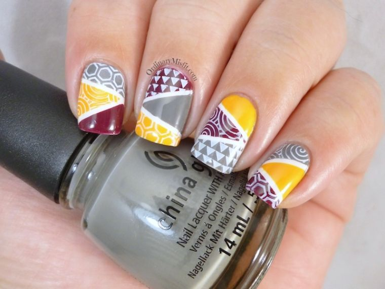 ongles peints-design-geometric-combine-colors