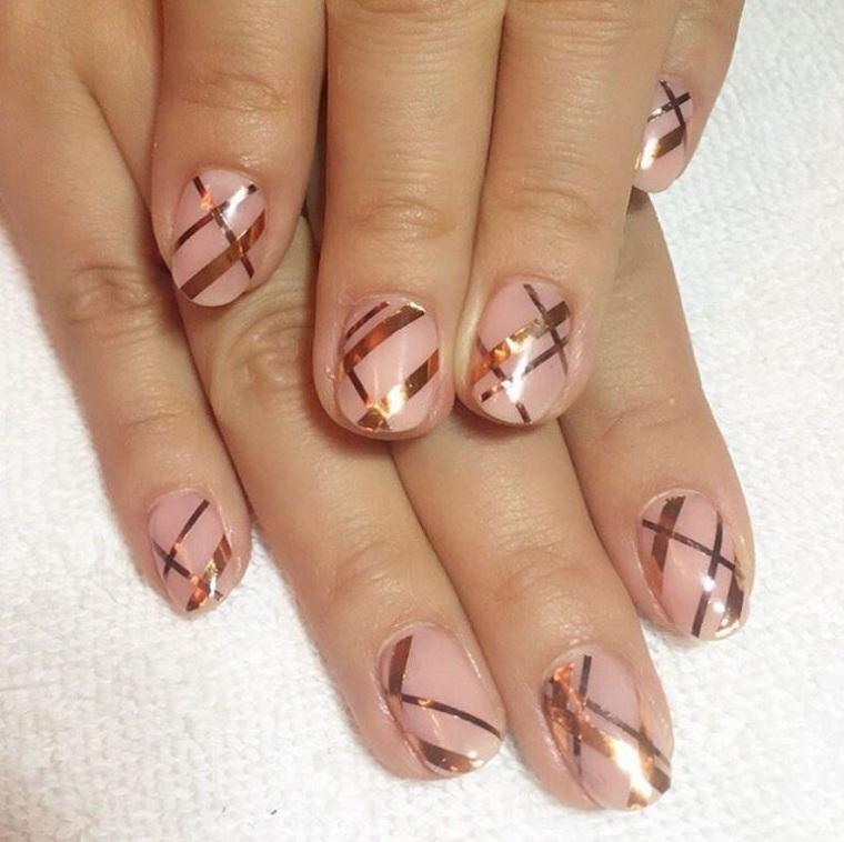 ongles peints-dessin-geometrique-feuilles