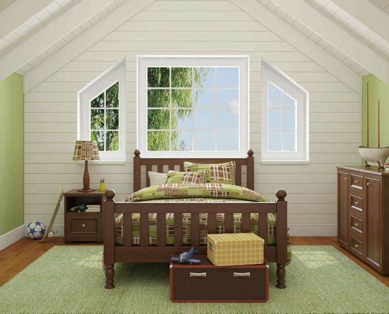Petite chambre blanche et vert clair dans le grenier
