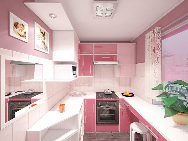 couleurs pour les petites cuisines-rose