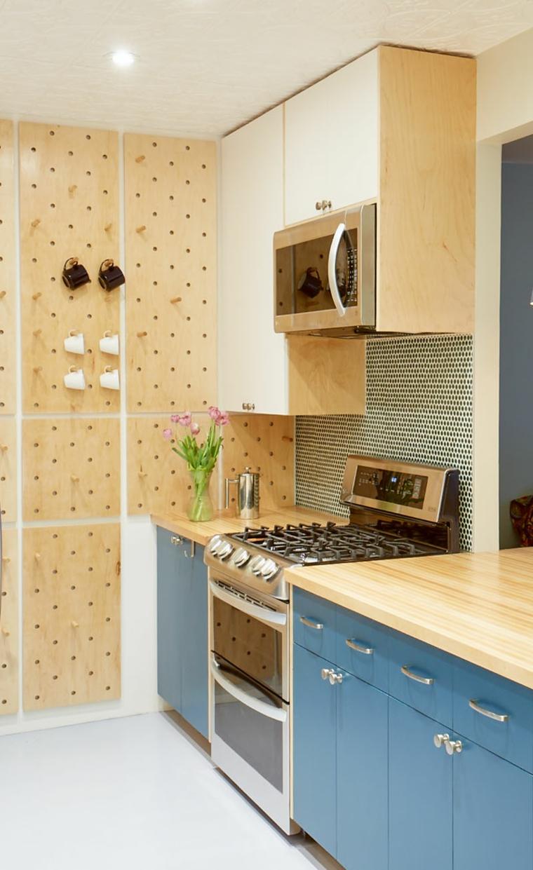 petites cuisines intégrées-décorées aux murs