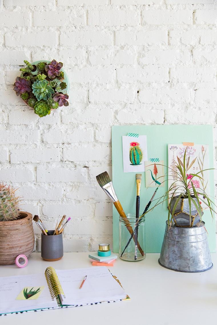 succulentes-plantes-mur-décorer-maison