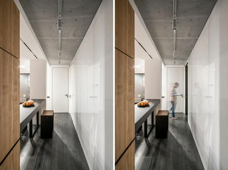 couloir en bois de ciment de contraste