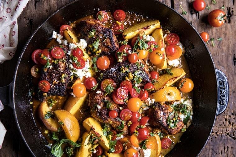 recettes-avec-poitrine-de-poulet-tomate-pêche