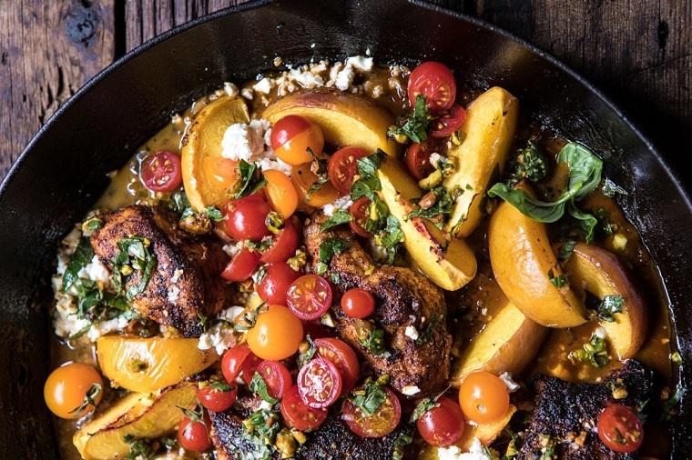 recettes avec poitrine de poulet-tomate-fromage-pêche