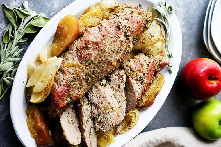recettes-de-surlonge-de-porc-pomme-moutarde-glaçage