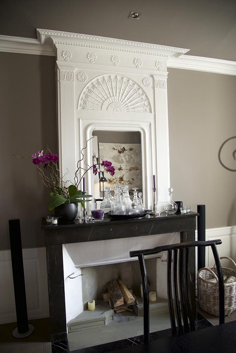 mur-cheminée-décoré-options de plâtre