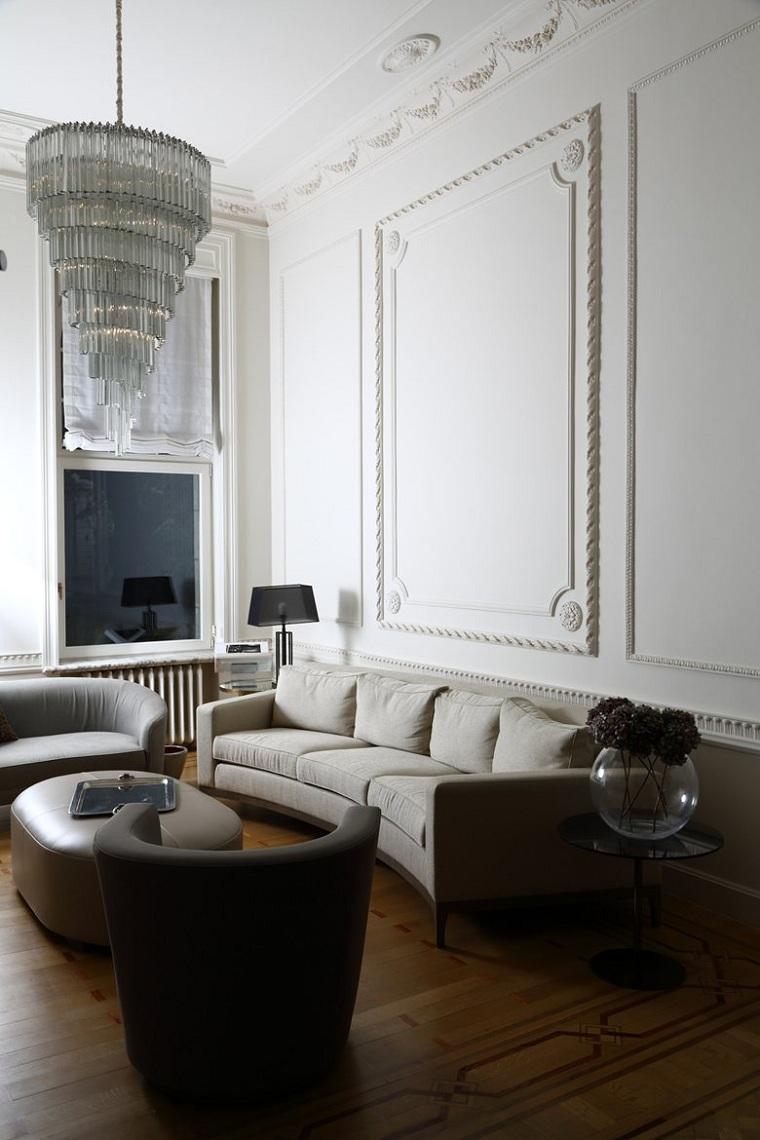 salon-moderne-plâtre-mur-décoratif
